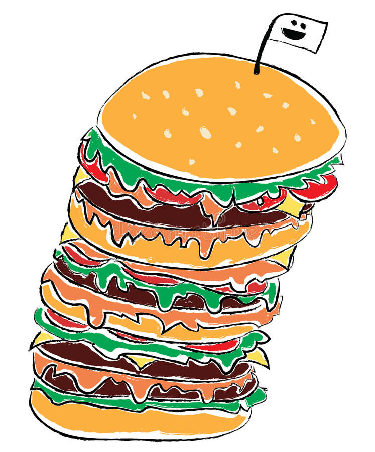 Download Burger stock illustration. Image of lettuce, bread, cheeseburger - 27237353