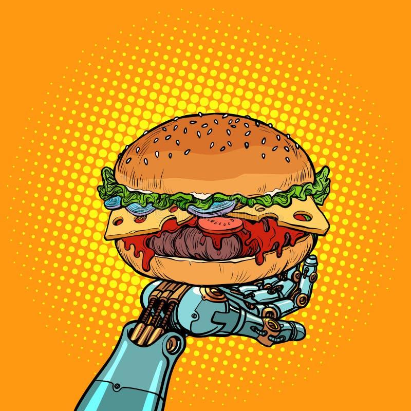 Burger auf einem Roboterarm lizenzfreie abbildung