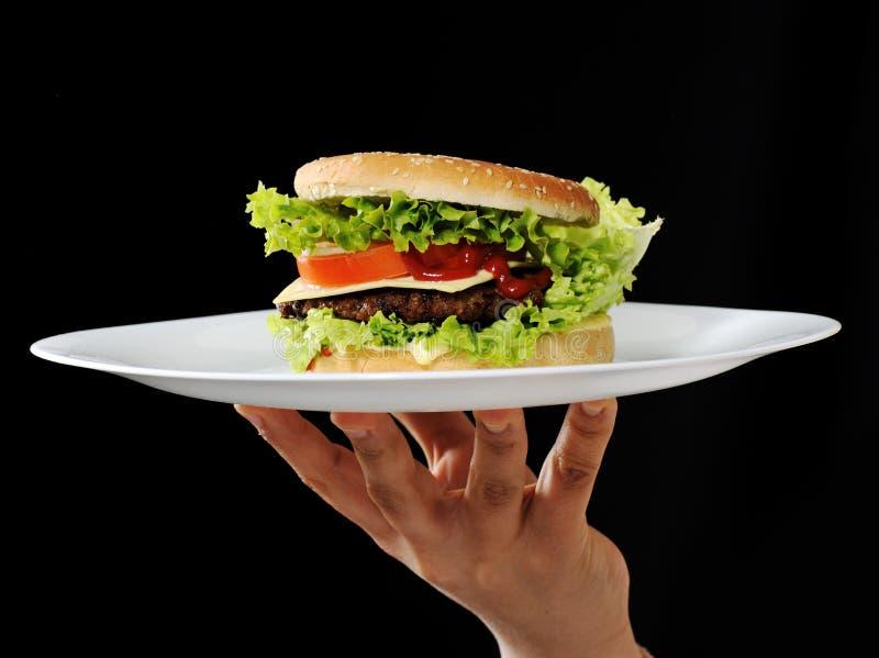 Burger auf Platte lizenzfreie stockbilder
