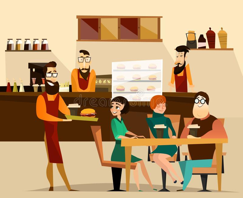 Burger bar concept vector illustration royalty free illustration