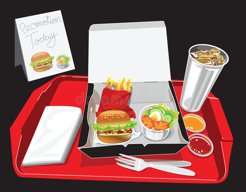 Burger Box Set stock illustration