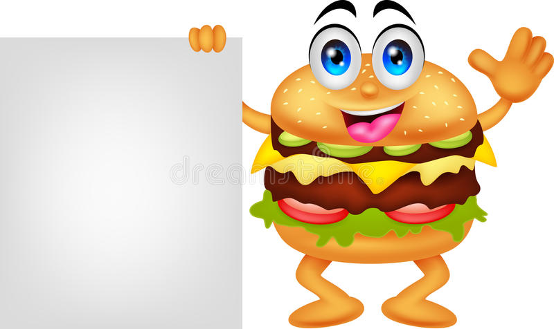 Burger cartoon characters with blank sign vector illustration