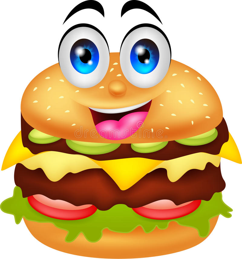 Burger cartoon characters stock illustration