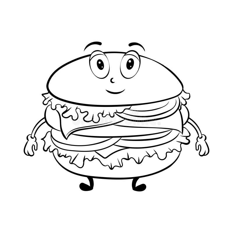 Burger cartoon coloring book vector stock illustration