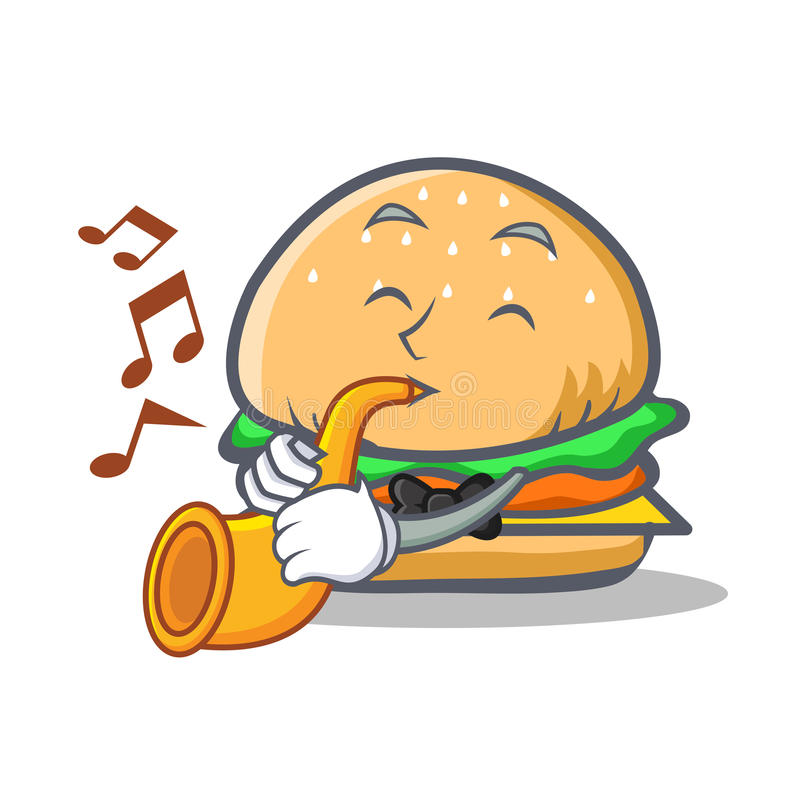 Burger character fast food with trumpet vector illustration