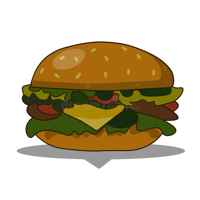 Burger with cheese, meat, salad isolated on white background.Tasty hamburger. Fast food. flat vector illustration. stock illustration