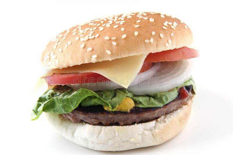 Burger. Cheeseburger whit tomato, onion, lettuce, ketchup and mutard stock photos