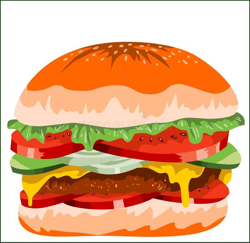 Burger Cheez patty εύγευστο χνουδωτό μεγάλο γλυκό cucumbar τουρσί σαλάτας κρεμμυδιών ντοματών ελεύθερη απεικόνιση δικαιώματος