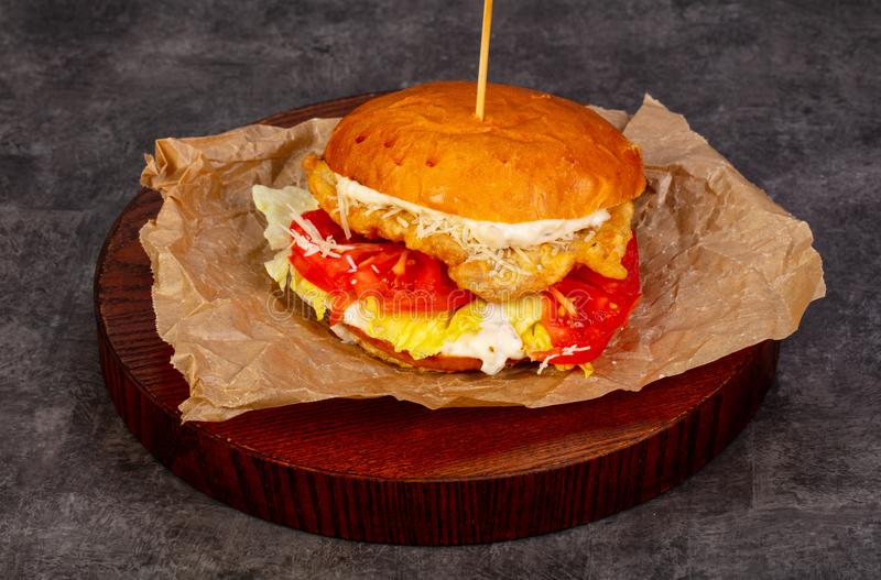 Burger with chicken. And tomatoes stock photography