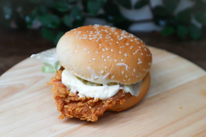 Burger or chicken burger. Dish stock photography