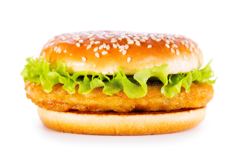 Burger with chicken. Isolated on white background royalty free stock photography
