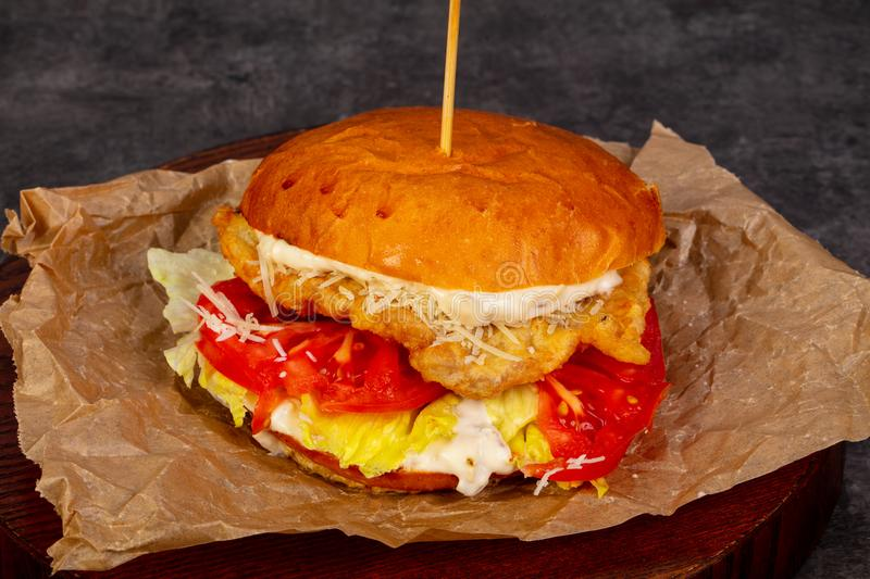 Burger with chicken. And tomatoes royalty free stock photo