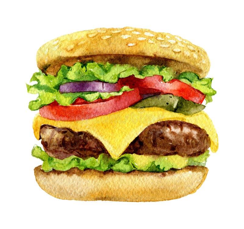 Burger clássico, cheeseburger, isolado em fundo branco, aquarela fotografia de stock