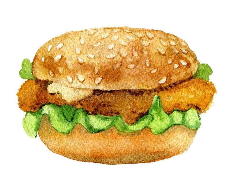 Burger clássico de frango, isolado em fundo branco, aquarela imagens de stock royalty free