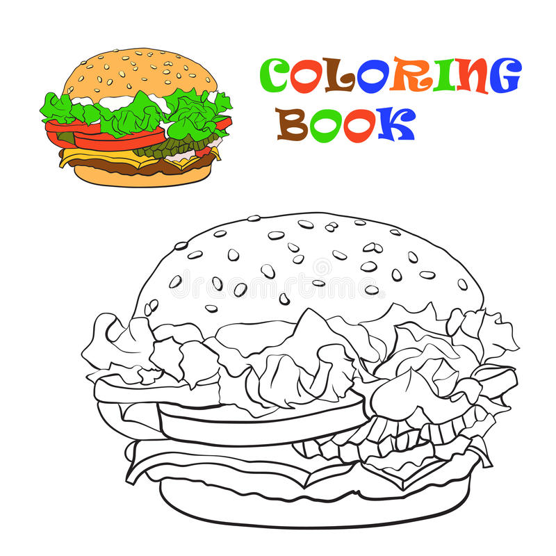 Download Burger Coloring Book Vector Illustration Stock