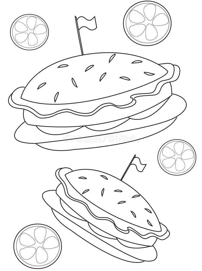 Burger coloring page royalty free illustration