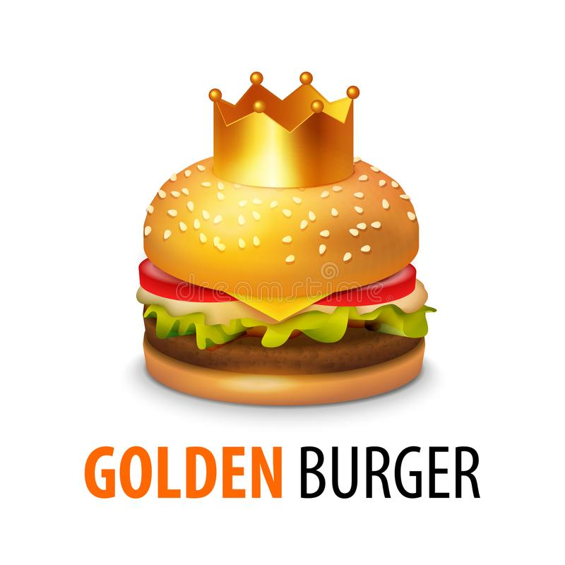 Burger with Crown isolated on white background. Vector Clipart of Tasty Sandwich with Caption royalty free illustration