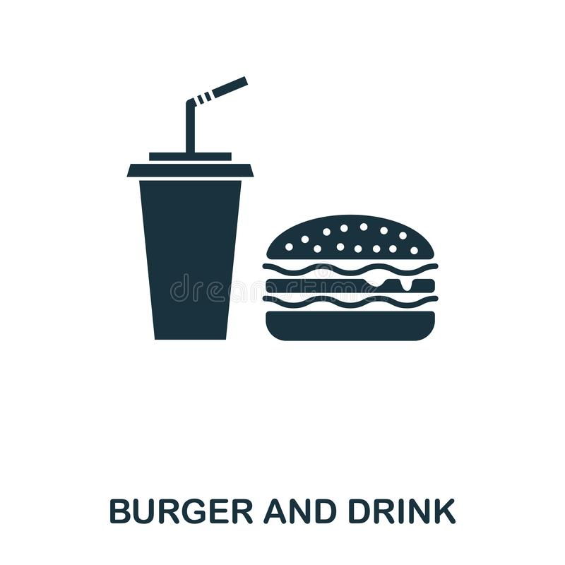 Burger And Drink icon. Mobile apps, printing and more usage. Simple element sing. Monochrome Burger And Drink icon. Illustration vector illustration