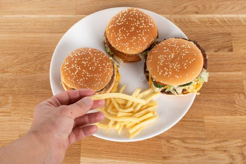 Burger e patatine fotografia stock