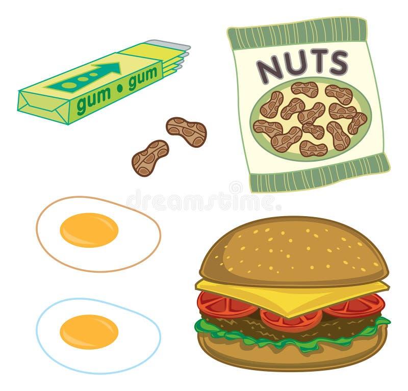 Burger, Erdnüsse, Gummi, Eier lizenzfreie abbildung