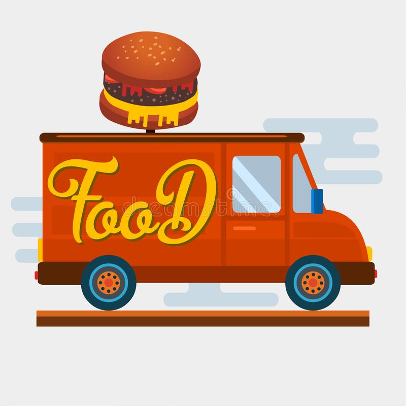 Burger fast food van car  vector illustration. 