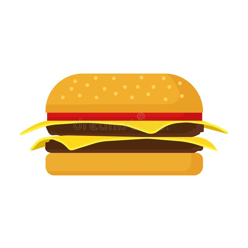 Burger fast food vector icon cheese bread bun meat. Lettuce restaurant menu grilled sesame. Cartoon snack ad bistro.  royalty free illustration