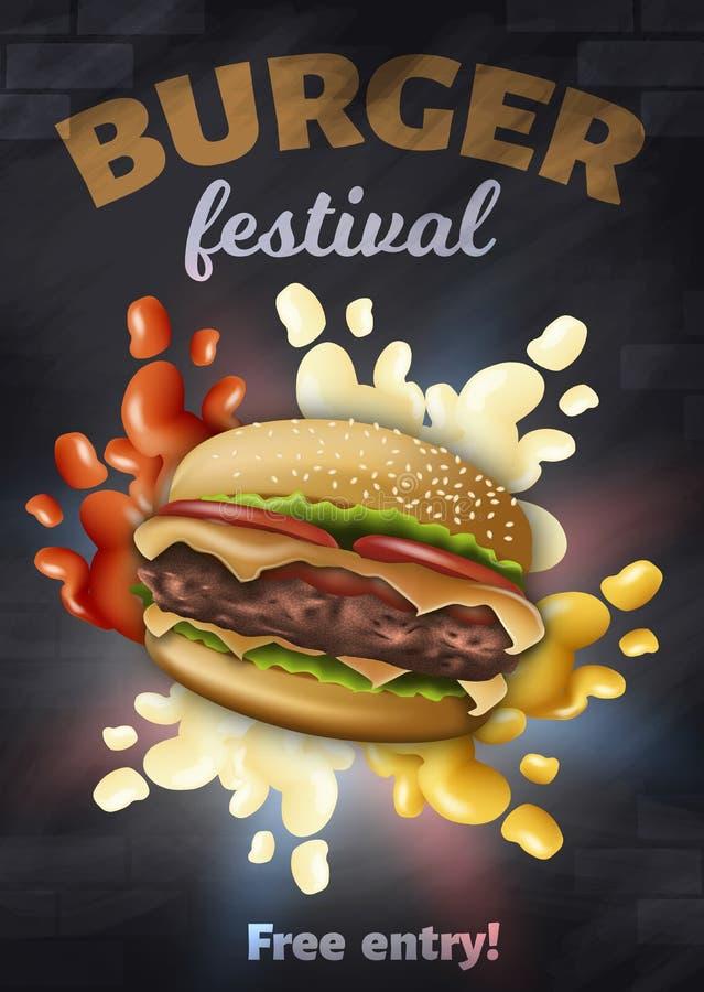 Burger Festival Vertical Banner, Tasty Hamburger stock illustrationer