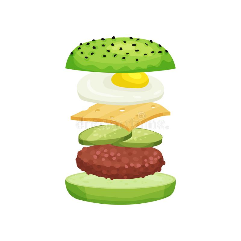 Burger with flying ingredients green buns, cutlet, fresh cucumbers, cheese and fried egg. Fast food. Delicious snack royalty free illustration