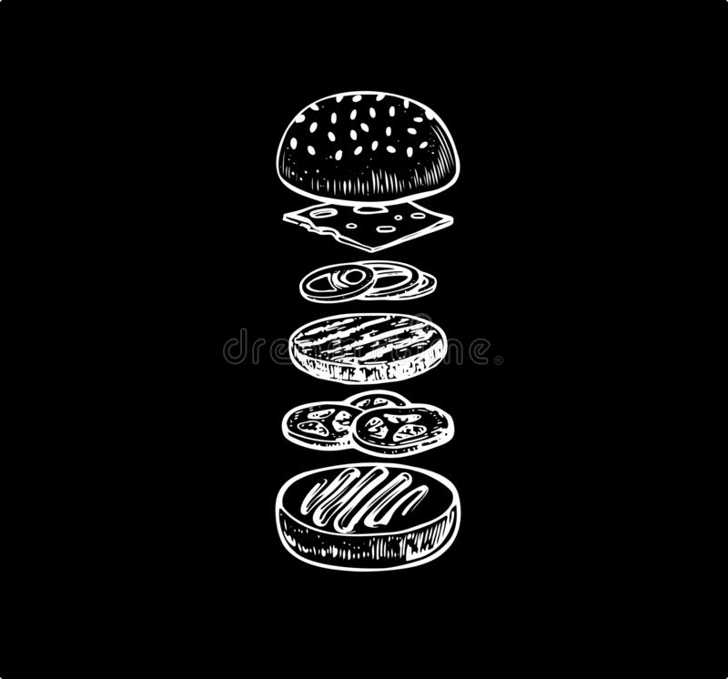 Burger with flying ingredients includes bun, cutlet,mustard, tomato, cheese, onion. Vector black vintage engraving illustration . royalty free illustration
