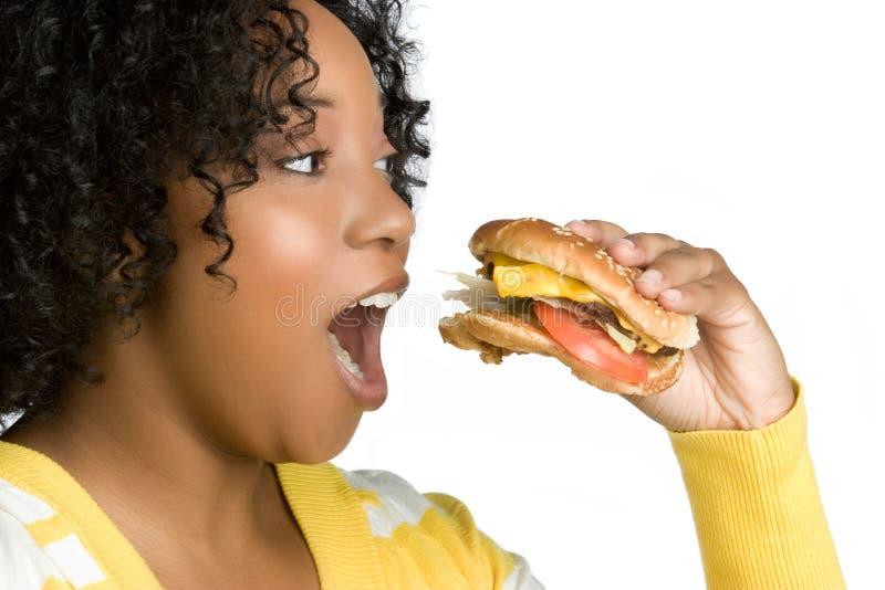 Burger-Frau lizenzfreie stockfotografie