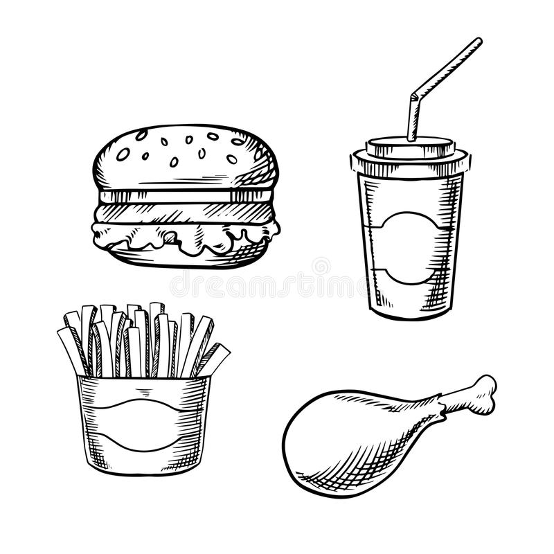 Burger, french fries, chicken leg and soda cup. Fast food hamburger with fresh vegetables, paper soda cup with drinking straw, french fries in takeaway box and royalty free illustration