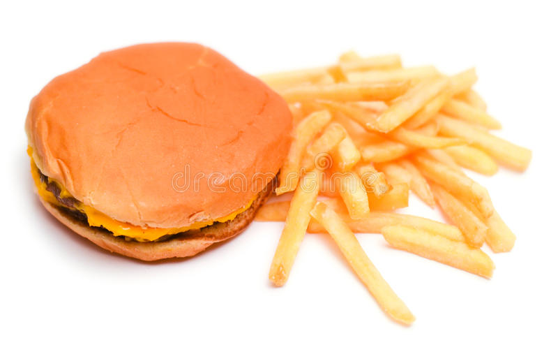 Burger and French Fries Isolated on a White Background stock image