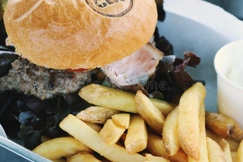 Burger with fries stock image