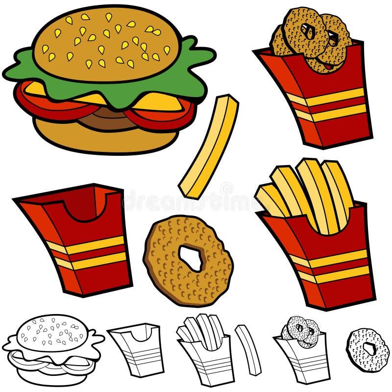 Burger Fries Onion Rings Set Stock Photos