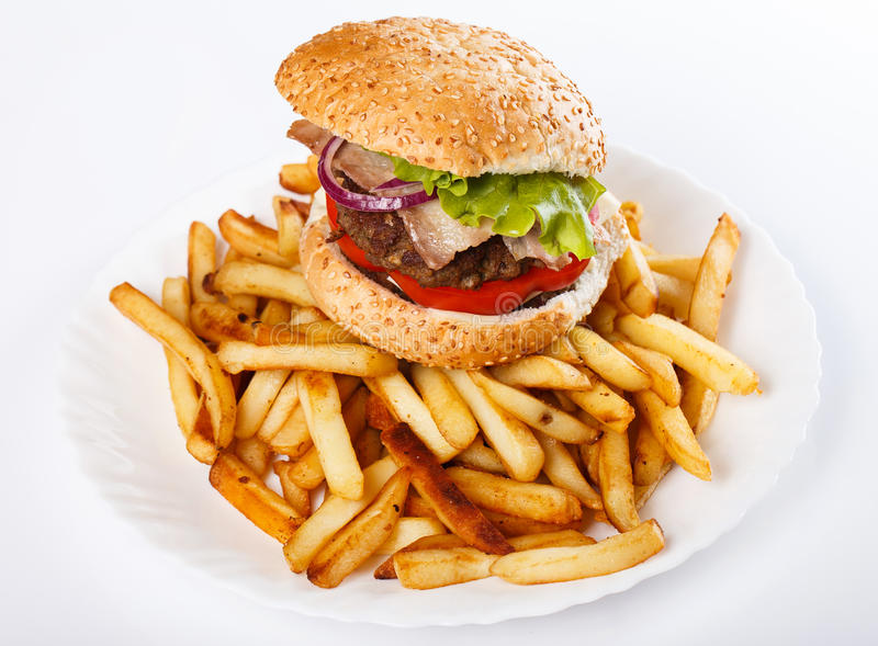 Burger and fries. On the plate royalty free stock photos