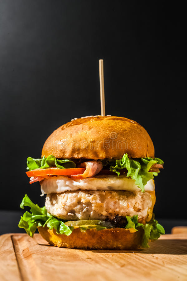 Burger with fries. Tasty burger with french fries stock photography