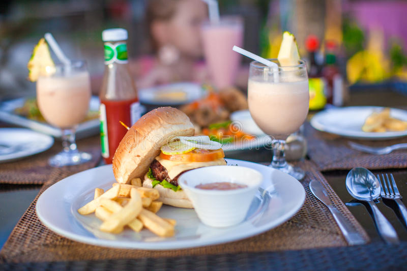 Download Burger And Fries On White Plate For Lunch Stock Photo - Image of cheese, breakfast: 37131998