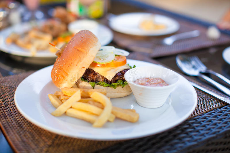 Burger And Fries On White Plate For Lunch Royalty Free Stock Photo
