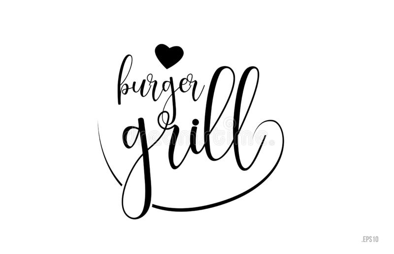 burger grill typography text with love heart stock illustration