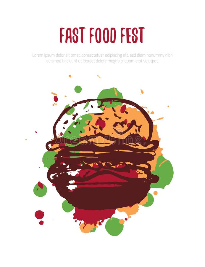 Burger hand drawn poster, banner design menu. Concept logo with splashes for fast food restaurant, cafe. Isolated on vector illustration