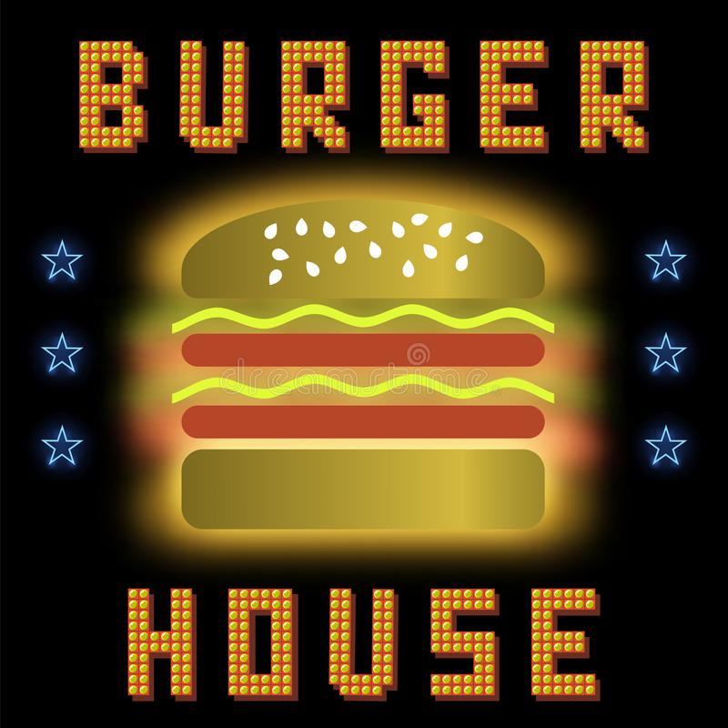 Burger House Neon Colorful Sign on Black Background. Fast Food Sign vector illustration