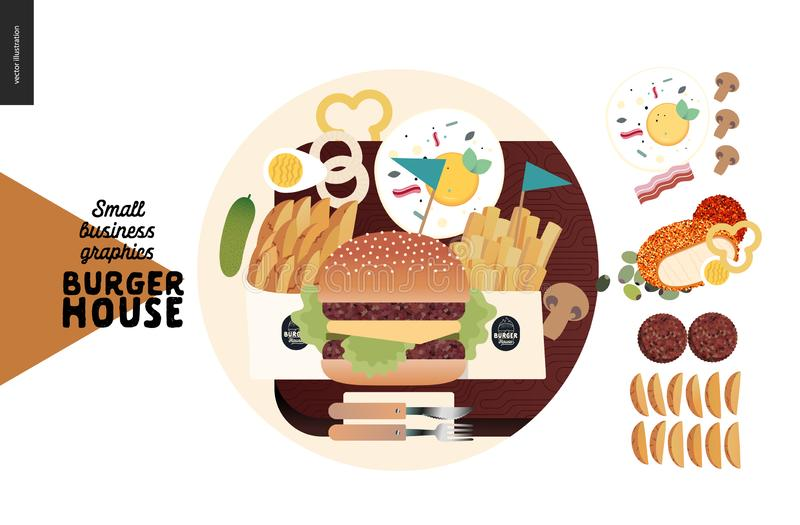 Burger house - small business graphics - menu icon and food royalty free illustration