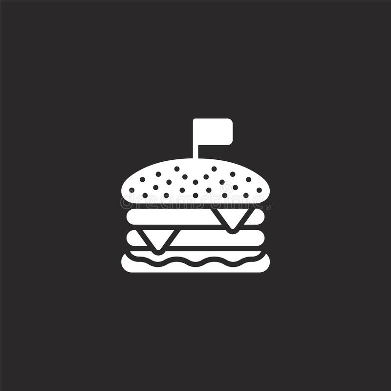 burger icon. Filled burger icon for website design and mobile, app development. burger icon from filled independence day royalty free illustration