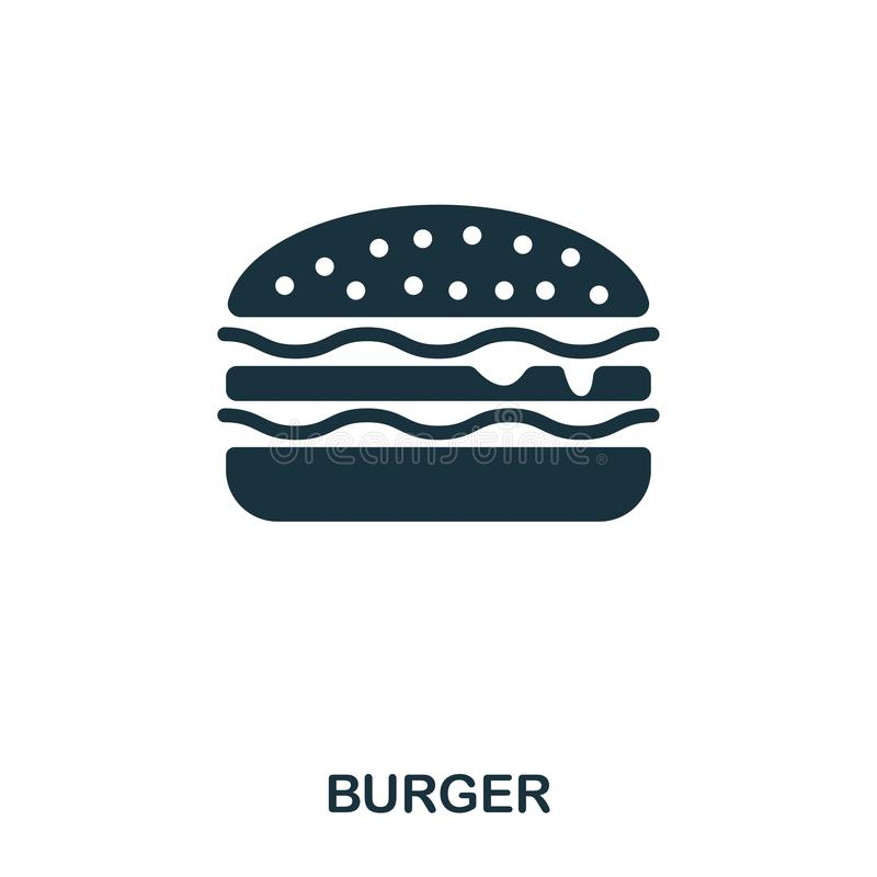 Burger icon. Mobile apps, printing and more usage. Simple element sing. Monochrome Burger icon illustration. Burger icon. Mobile apps, printing and more usage vector illustration