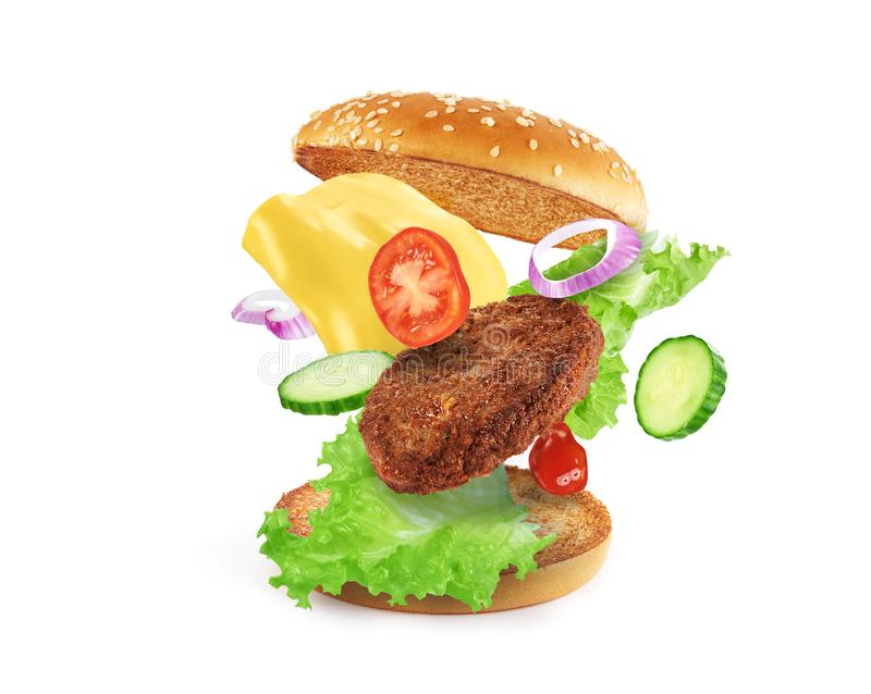 Burger ingredients isolated stock photo