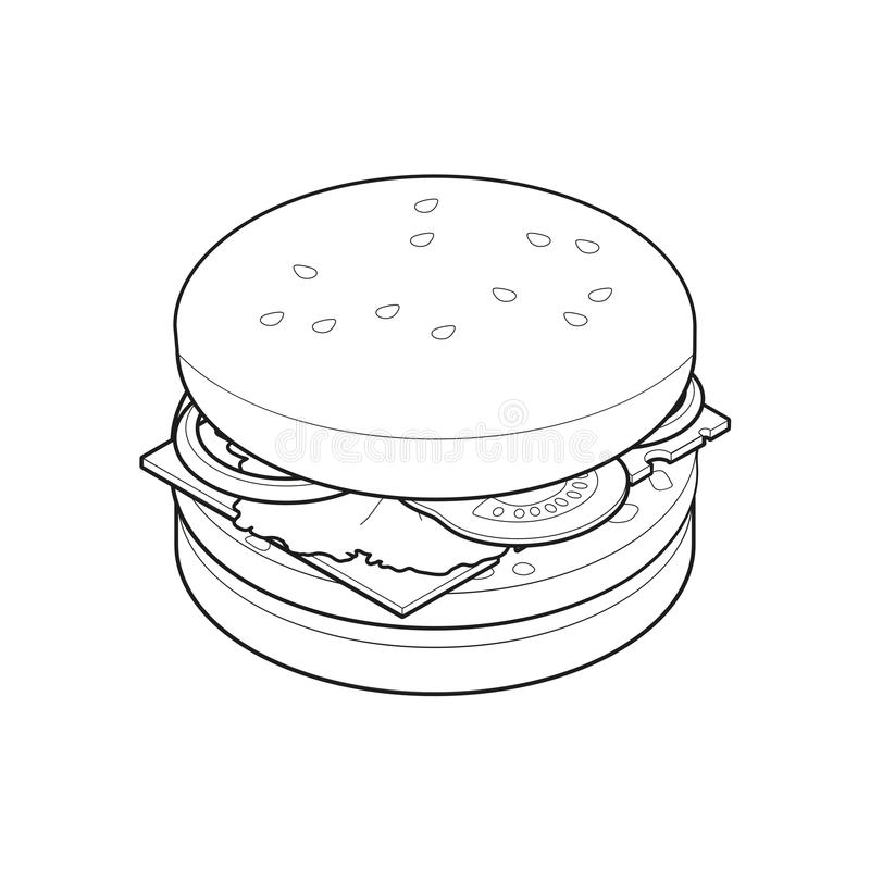 Burger isometric coloring book, concept unhealthy food, fast food illustration royalty free illustration