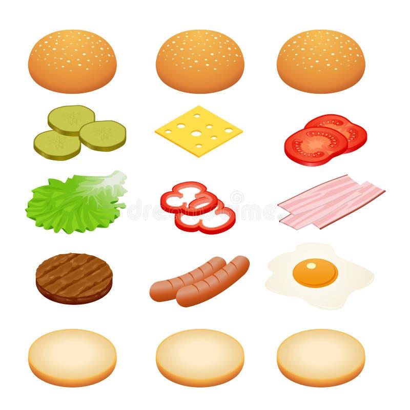 Burger isometrisch Burgerbestandteile auf weißen Hintergründen Bestandteile für Burger und Sandwiche Spiegelei, Zwiebeln stock abbildung