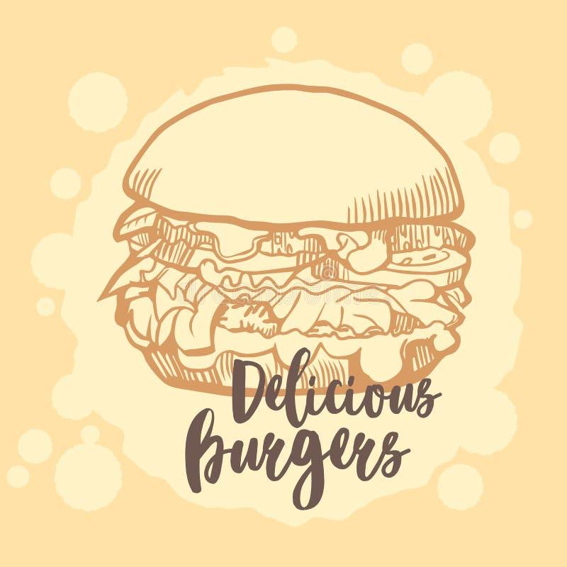 Burger ison. Fast food emblem. Retro design. stock images