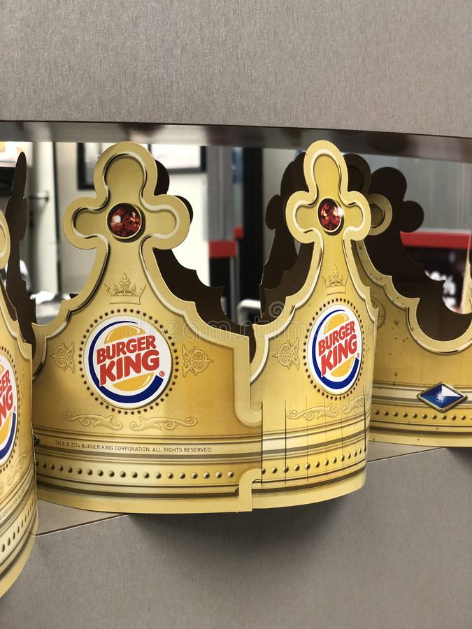 Burger King Crown. Closeup of a cardboard Burger King crown in a restaurant on a shelf royalty free stock photo