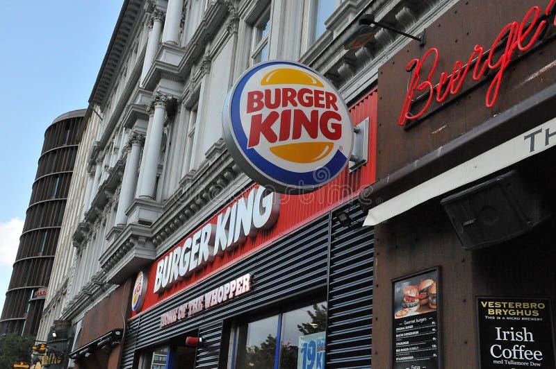 Burger king fast food restaurants copenhagen Denmark. Copenhagen /Denmark/ 14.August 2019/ Burger king fast food restaurant in danish capital Copenhagen Denmark stock photography